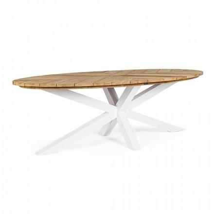 Trädgårdsbord med teaktopp och aluminiumbas, Homemotion - Leotto