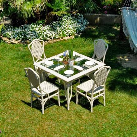 Bord med glasskiva trädgårdsdesign Romeo, handgjorda