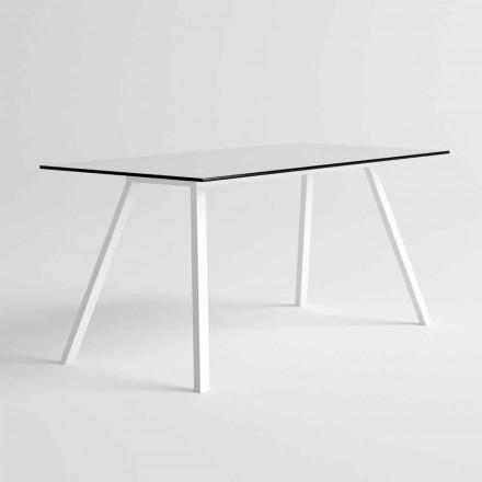 Trädgårdsbord i vitt aluminium och HPL-laminat modern design - Oceania2