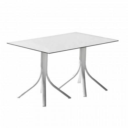 Trädgårdsbord i aluminium och vit Hpl eller Gunmetal - Filomena