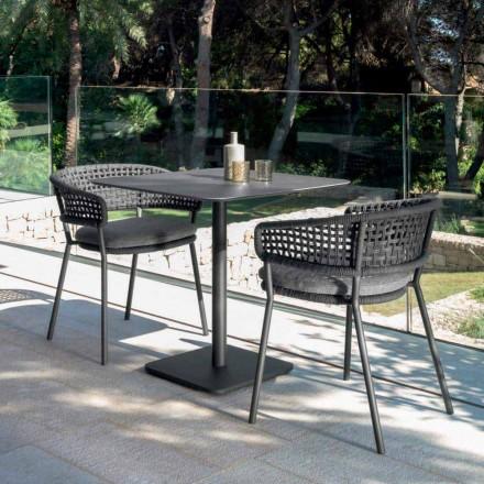 Moon Alu modernt trädgårdsbord av Talenti, 80x80 med keramik
