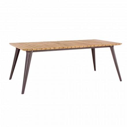 Trädgårdsbord Teak Trä topp och Homemotion Aluminium Base - Amabel