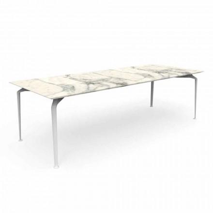 Modernt rektangulärt trädgårdsbord i stengods och aluminium - Cruise Alu Talenti
