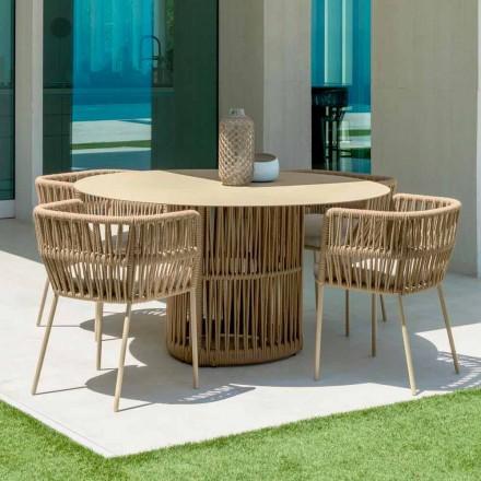 Cliff Talenti runda trädgårdsbord i aluminium, design av Palomba