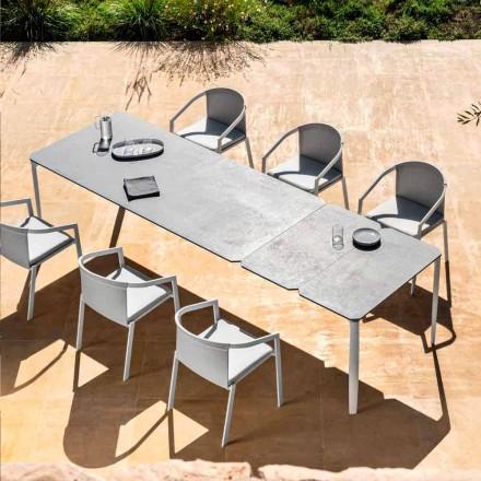 Utdragbart matbord utomhus 318 cm i aluminium och stengods - Filomena