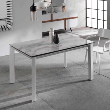 Extendable matbord med marmor effekt keramisk topp, Nosate
