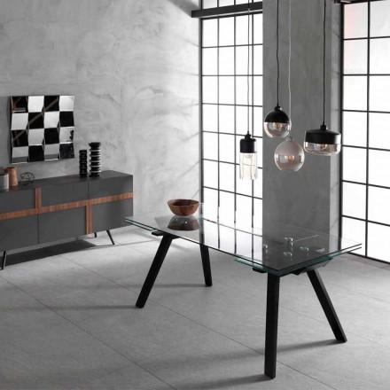 Utdragbart bord upp till 260 cm, glas topp och askbas, Empoli
