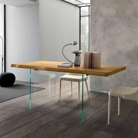 Utdragbart matbord Upp till 280 cm i trä och glas tillverkat i Italien - Focus