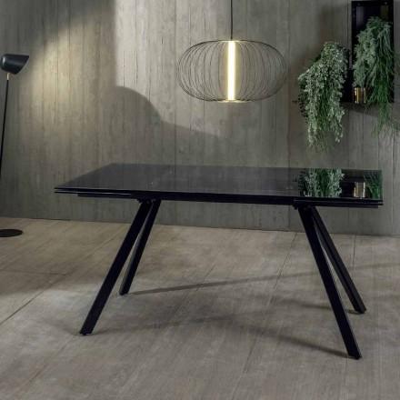 Utdragbart matbord upp till 240 cm i härdat svart Fumé-glas - Fener