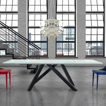 Förlängbart matbord av glas upp till 300 cm Tillverkat i Italien - Settimmio