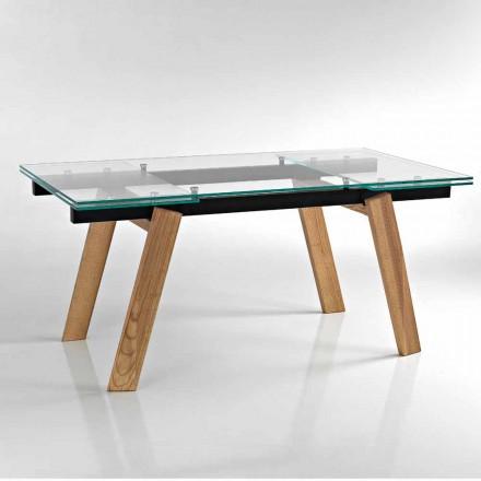 Modernt utdragbart matbord i glas gjord i Italien, Azad