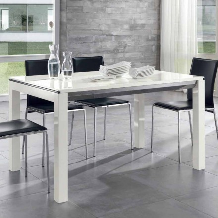 Utdragbart matbord Tanganika valnöt trä glansigt vit lackerat - Ketla