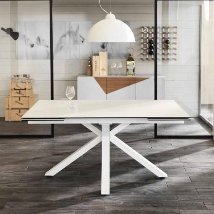 Dining glas-keramiska sträcker bord, L.160 / 240xp.90 cm, Bacchus