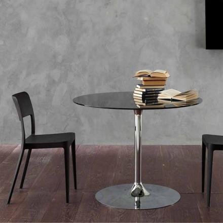 Matbord med kristallplatta och förkromad bas tillverkad i Italien - Tallio