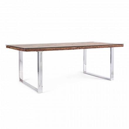 Homemotion matbord med trä- och härdat glasskiva - Blanco