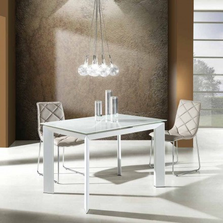 Matbord med härdat glasskiva målade bianco Zeno