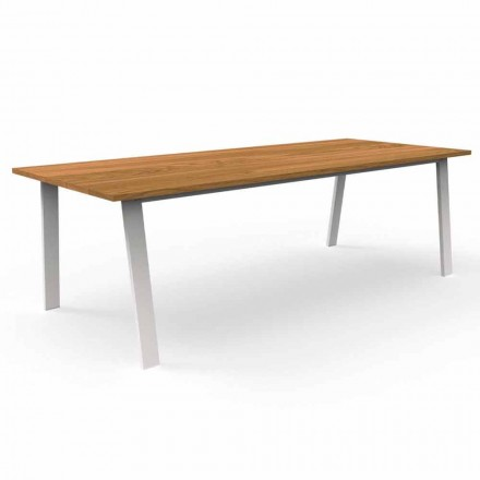 Trädgårdsmatbord i Iroko trä och aluminium - stuga av Talenti