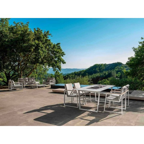 Aluminium och Gres Modern Garden Dining Table - Alabama Alu Talenti