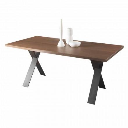 Design matbord med ek eller valnöt trä Top tillverkad i Italien - Lucas