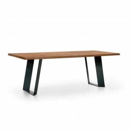 Design matbord i gran med ben av svart metall tillverkad i Italien - Kroma