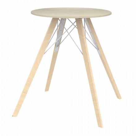 Rund design matbord i trä och Dekton 4 stycken - Faz Wood av Vondom