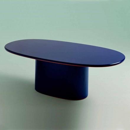 Oval matbord i modern design i blå MDF och koppar tillverkad i Italien - Oku
