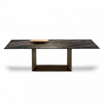 Utdragbart matbord i keramik och metall tillverkat i Italien - mörkbrunt