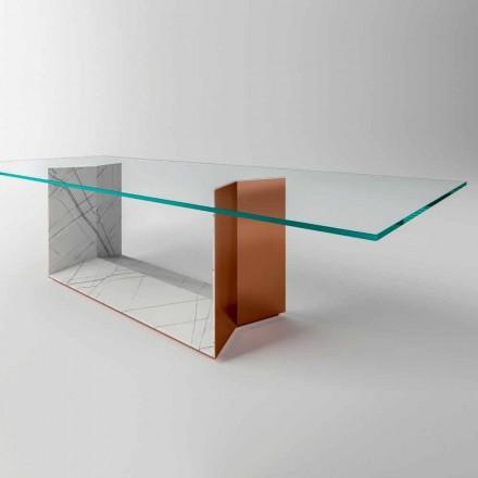 Glasbord med metall och marmorbas Tillverkad i Italien - Minera