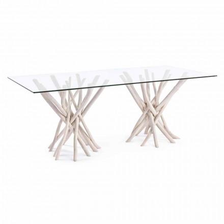 Design matbord i glas och blekt teak Homemotion - Frankrike