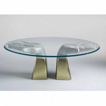 trä matbord med glasskiva, tillverkade i Italien, Bartolo