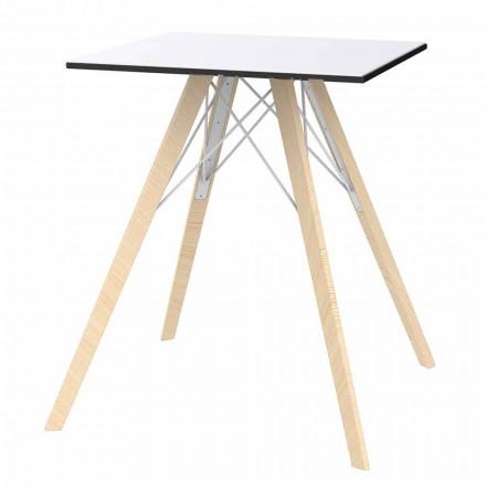 Square Design Wood och Hpl Matbord, 4 stycken - Faz Wood av Vondom