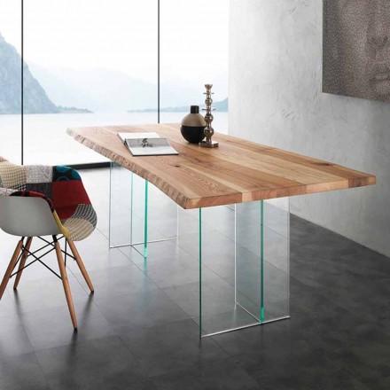 massivt trä matbord och glas Marlon