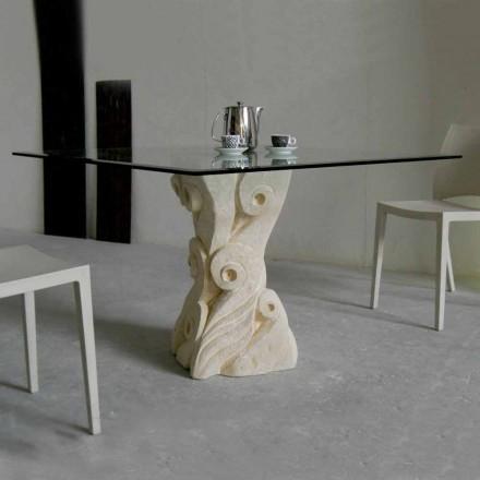 sten matbord med glasskiva konstruktion Giasone