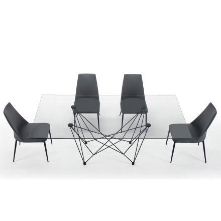 Matbord i härdat glas och svart stål tillverkat i Italien - Ezzellino