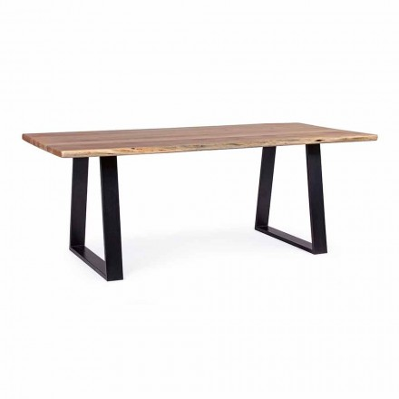 Homemotion industriellt matbord med Acacia Wood Top - Vermont