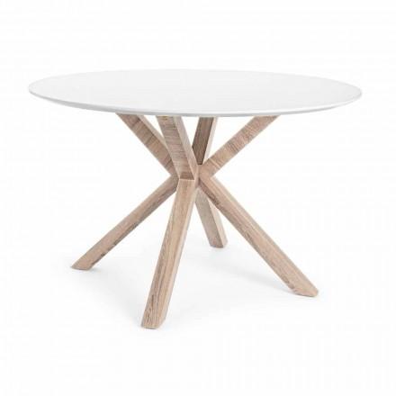 Modernt matbord med rund topp i vit Mdf Homemotion - Vento