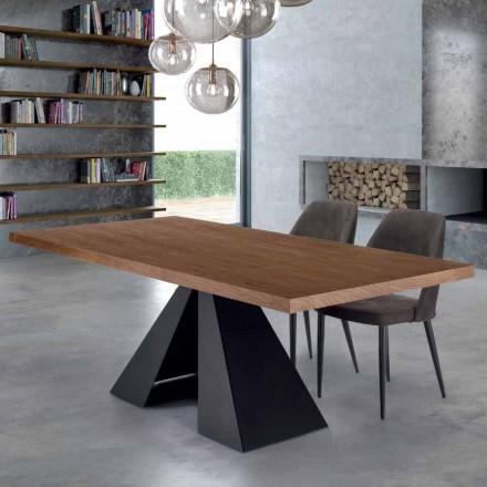 Modernt matbord i ädelträ och stål tillverkat i Italien - Dalmata