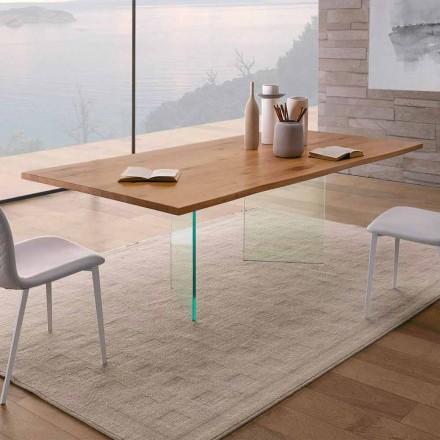 Matbord i knuten ek och högkvalitativt glas tillverkat i Italien - Sibillo