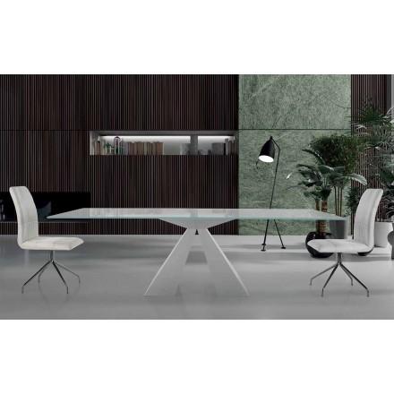 Modernt matbord i vitt stål och glas tillverkat i Italien - Dalmata