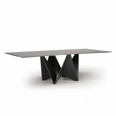 Lyxigt matbord, rökt fasad glasskiva tillverkad i Italien - makro