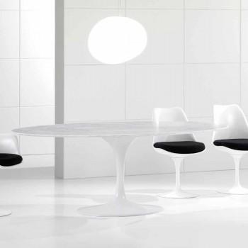 Oval matbord med Carrara marmortopp tillverkad i Italien - Nero