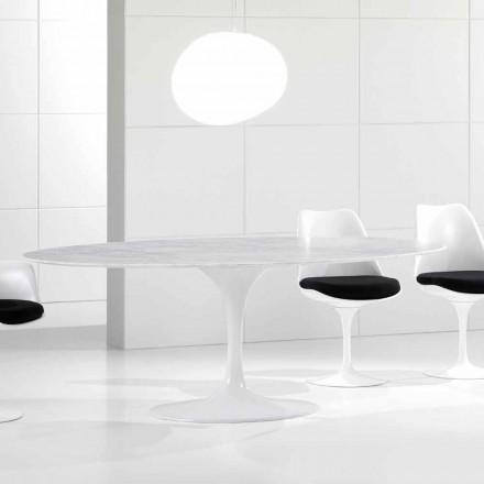 Lyxigt ovalt matbord, Carrara marmortopp, tillverkat i Italien - Nerone