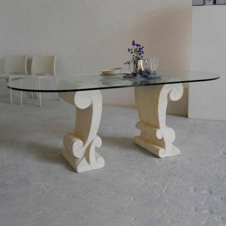 oval matbord av sten och klassisk design crystal Arachne