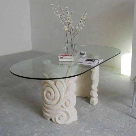 ovala matbord i sten och modern design crystal Aden