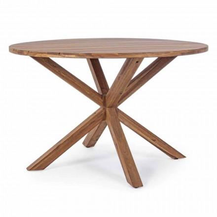 Matbord utomhus med rund akaciaträplatta - Perry
