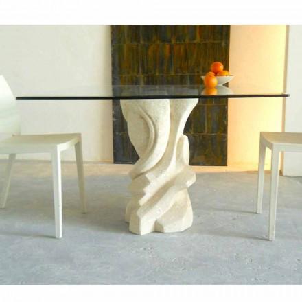 Kvadratisk bord i Vicenza Sten och Leda kristall, handskuren