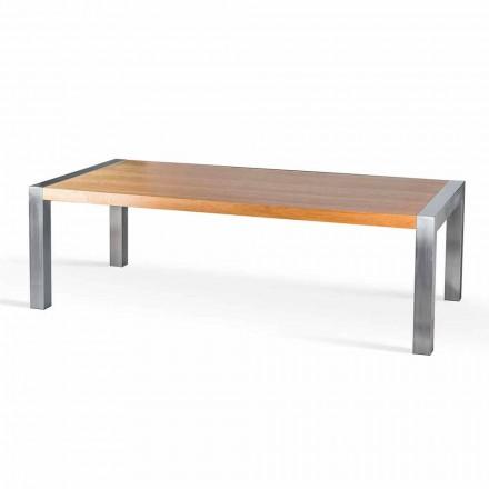 Rektangulärt matbord i ek och rostfria bedrägerier
