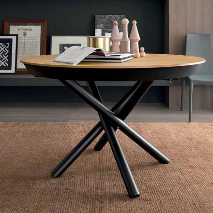 Runt utdragbart matbord med träplatta Tillverkad i Italien - Crodino