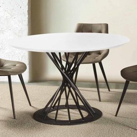 Runt matbord med laminerad träplatta och stålbotten - Mileto