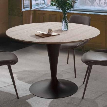 Runt matbord med topp i laminerat trä av materiell ek - Moreno